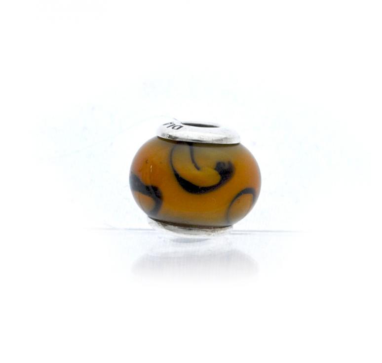 Серебряный шарм с муранским стеклом коричневый камень