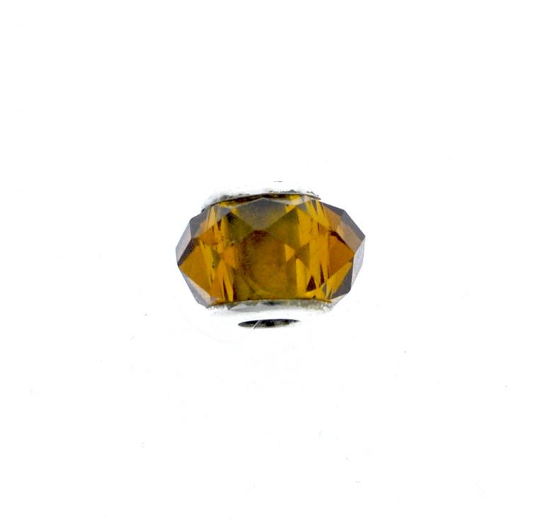 Шарм из серебра 925 пробы в виде янтарного кристалла