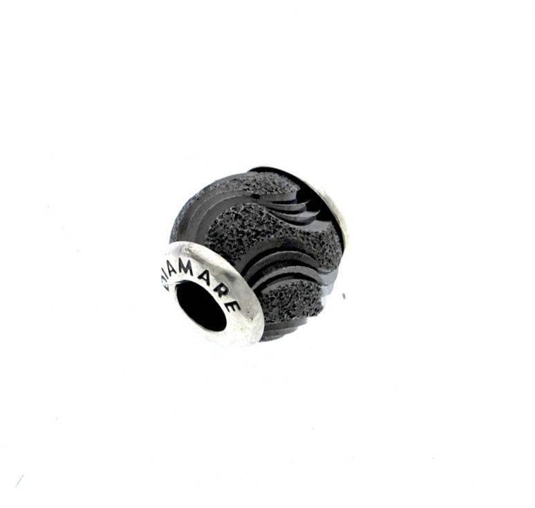 Шарм серебряный с муранским стеклом черного цвета