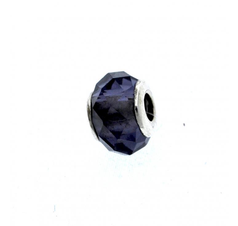 Шарм серебряный с муранским стеклом в виде черного кристалла
