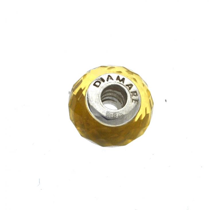 Бусина в стиле пандора с муранским стеклом из серебра 925 желтая