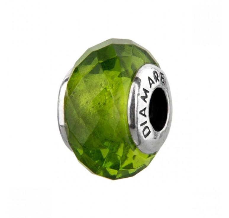 Шарм серебряный с муранским стеклом в виде зеленого кристалла