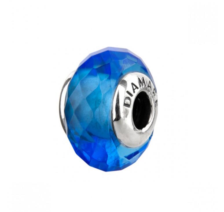 Серебряный шарм  в виде голубого кристалла
