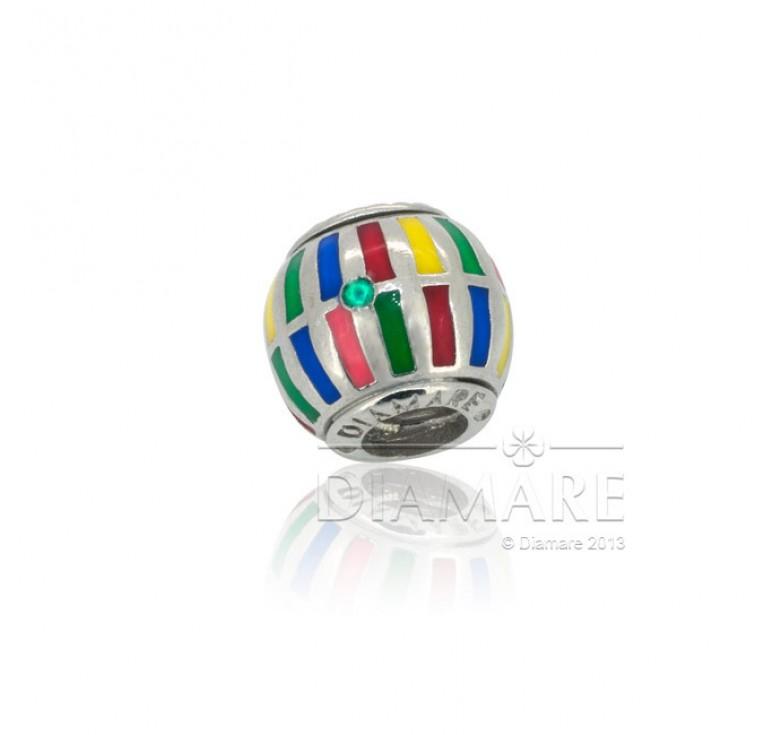 Бусина шарм серебряный с цветной эмалью - радуга