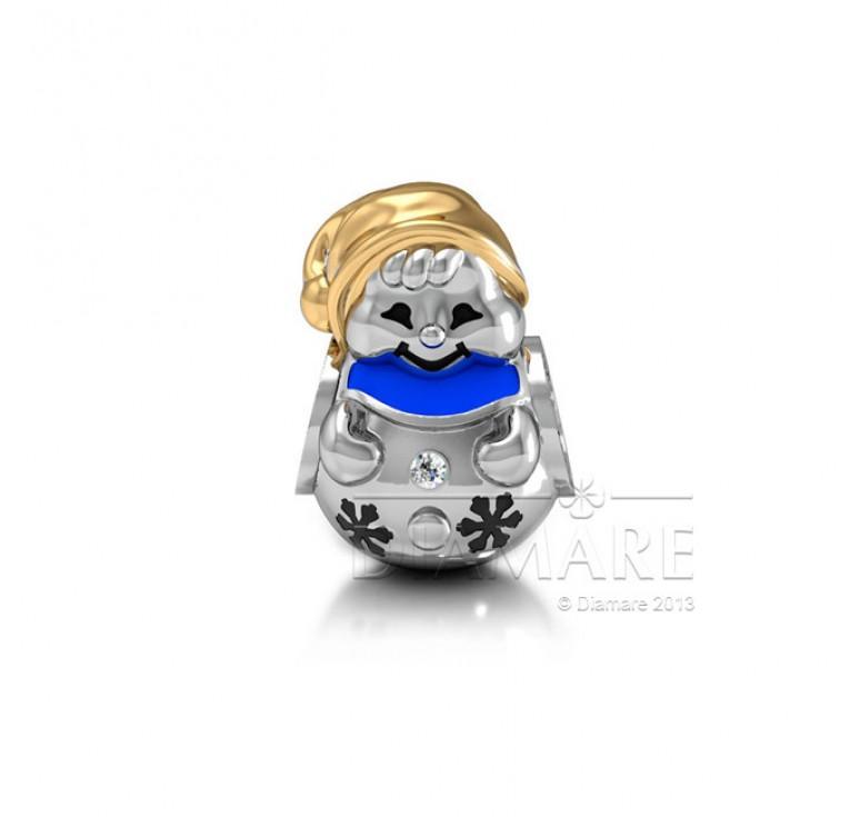 Шарм серебряный с эмалью снежный гном
