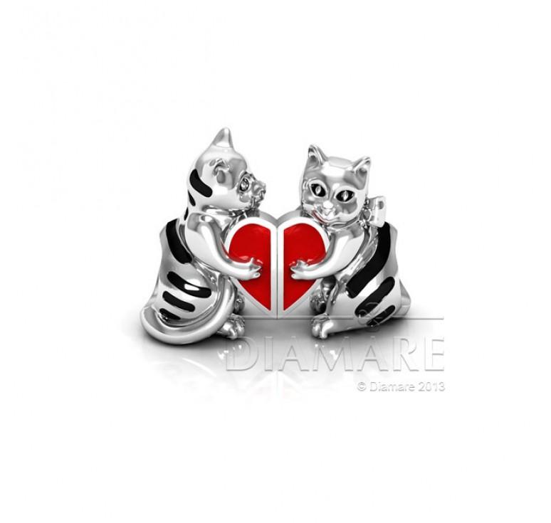 Шарм серебряный с эмалью влюбленные кошки