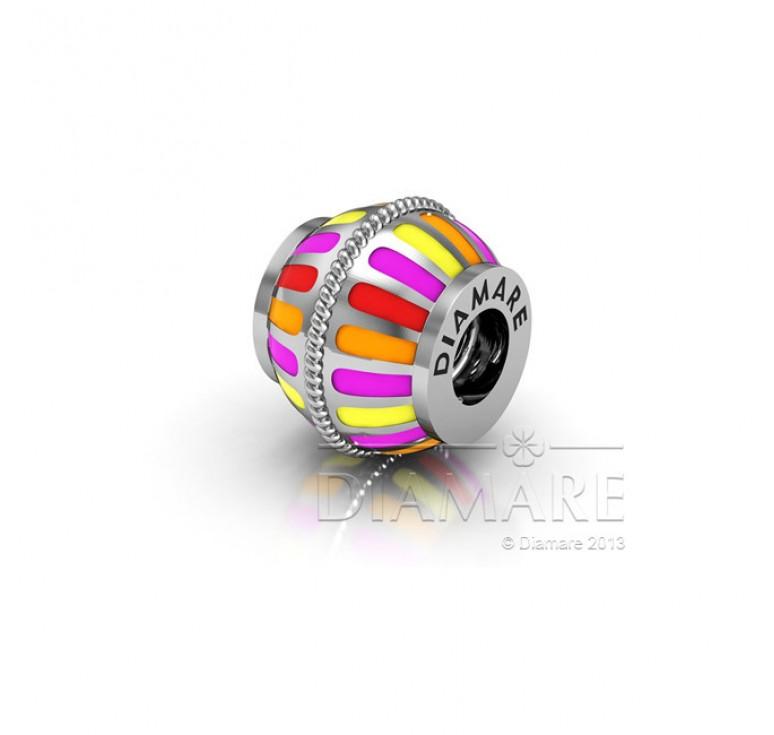 Шарм бусина серебро - цветной фонарик