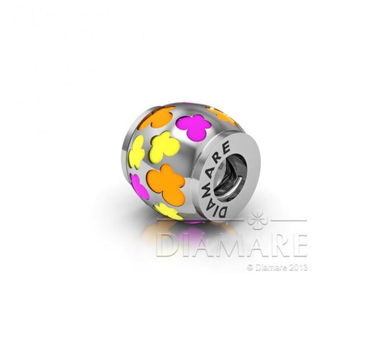 Бусина шарм из серебра 925 с цветной эмалью