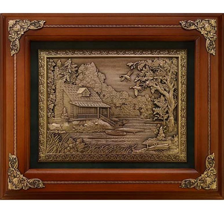 Деревянное панно «Домик охотника»