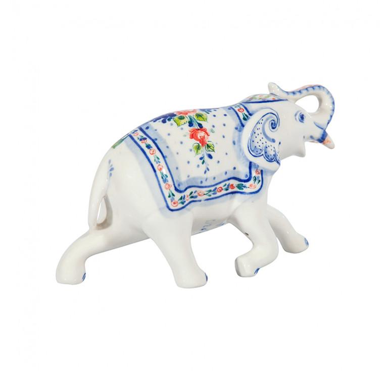 Скульптура Слон №3 (подглазурные цветные краски, кобальт)