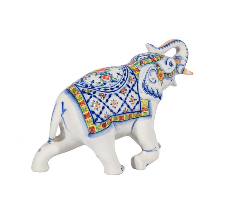 Скульптура Слон №2 (подглазурные цветные краски, кобальт)