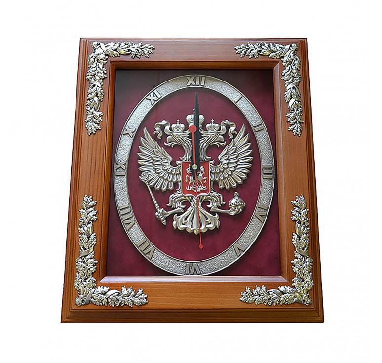 Настенные часы «Герб РОССИИ» в деревянной раме