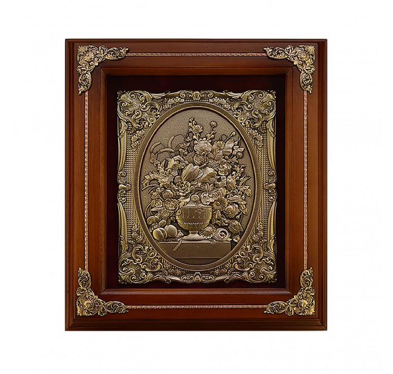 Панно из металла в деревянной раме «Цветы в вазе»