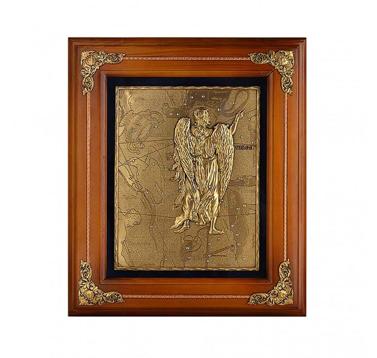 Панно из металла в деревянной раме «Дева»