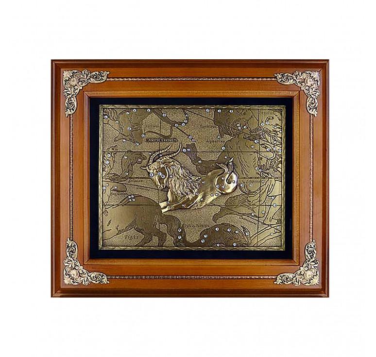 Панно из металла в деревянной раме «Козерог»