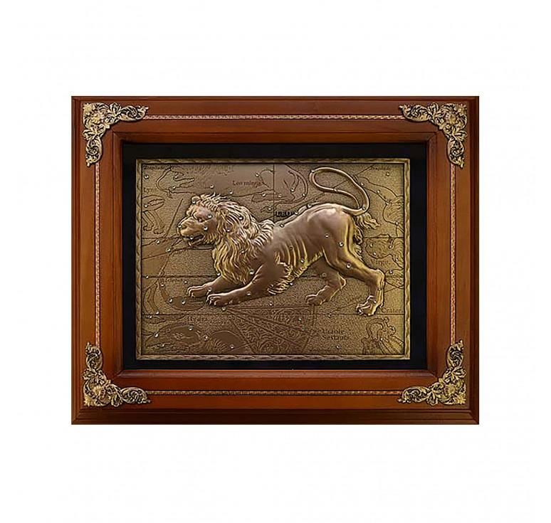 Панно из металла в деревянной раме «Лев»