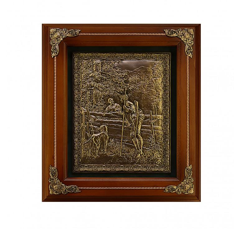 Панно из металла в деревянной раме «Охотник с собакой»