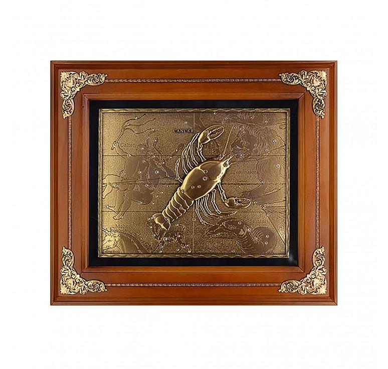 Панно из металла в деревянной раме «Рак»