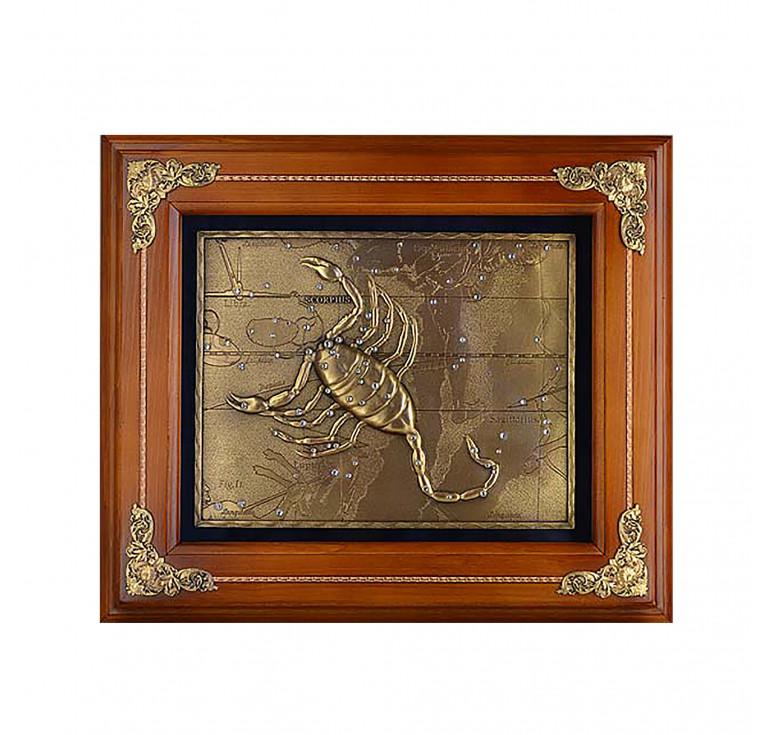 Панно из металла в деревянной раме «Скорпион»