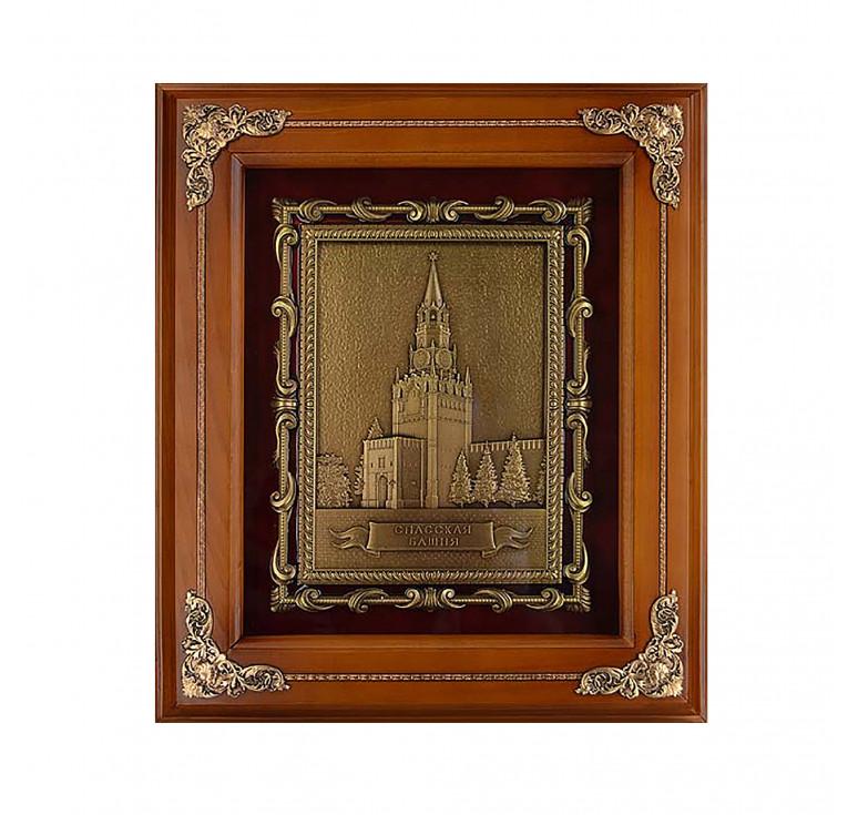 Панно из металла в деревянной раме «Спасская башня»