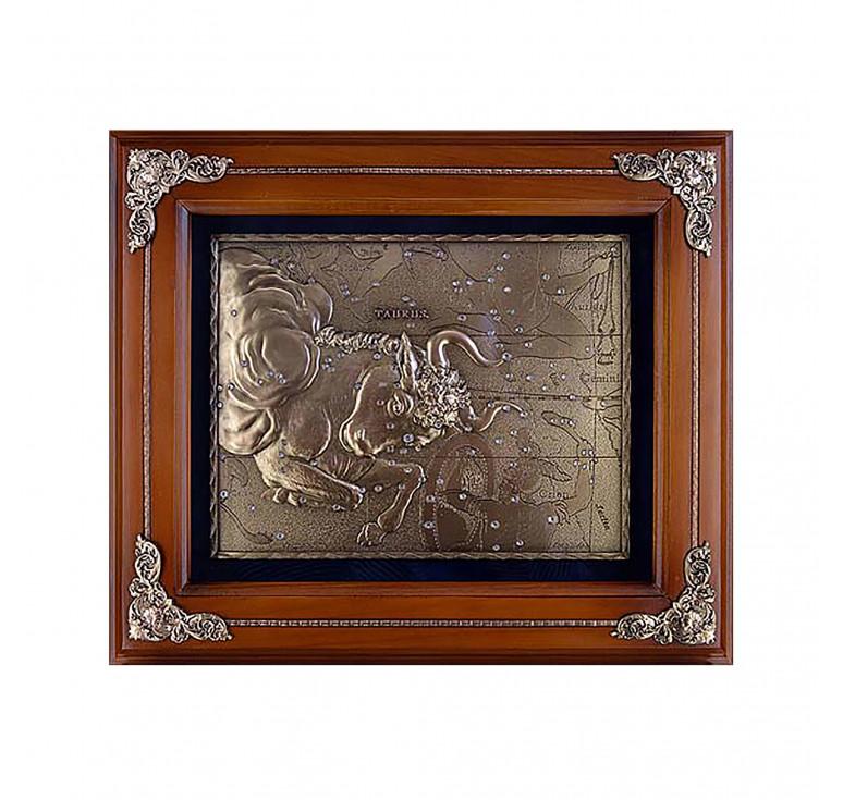 Панно из металла в деревянной раме «Телец»