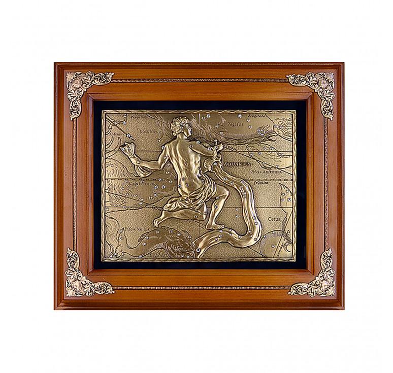 Панно из металла в деревянной раме «Водолей»