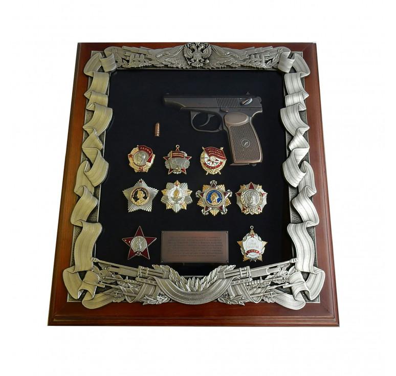 Панно с пистолетом Макарова и наградами СССР