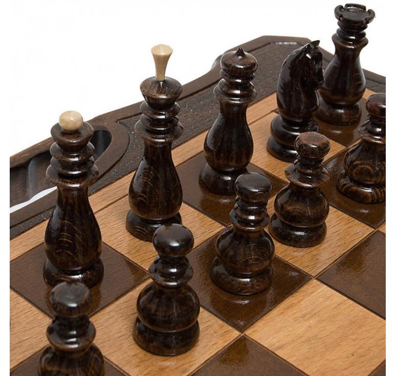 Шахматы + нарды резные 50 с ручкой, Haleyan