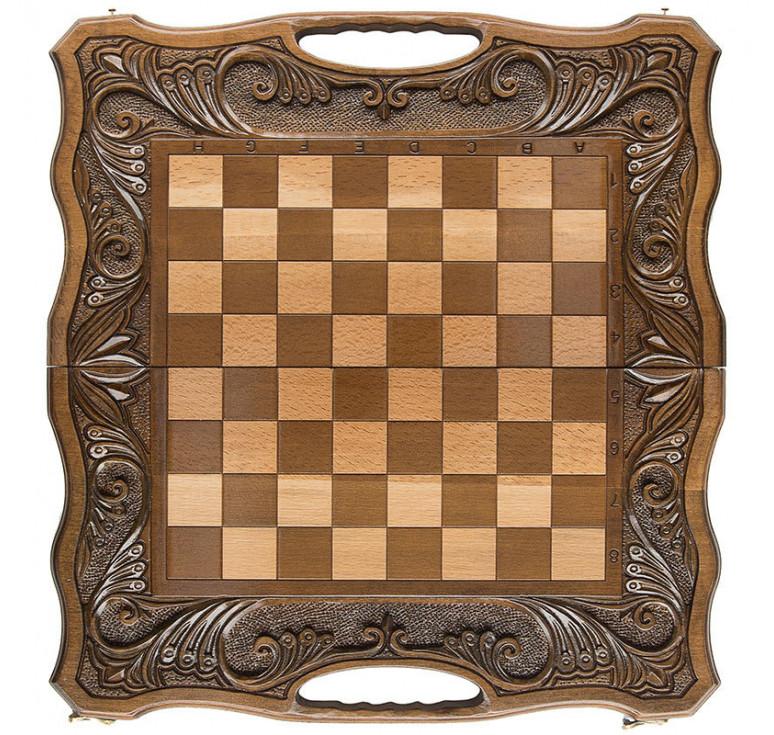 Шахматы + нарды резные «Афинские» 50 с ручкой, Haleyan