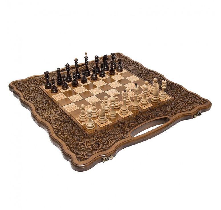 Шахматы + нарды резные «Вардени» 60 с ручкой, Haleyan