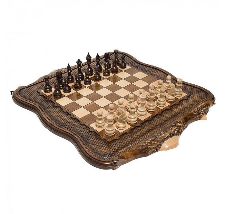 Шахматы+нарды резные «Арарат 2» 60, Ohanyan