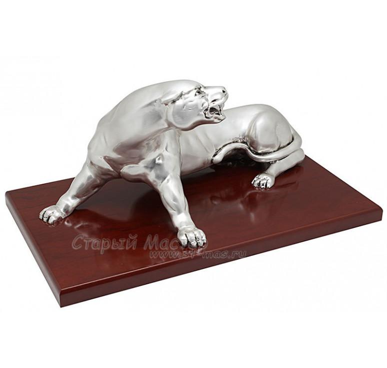 Скульптура «Разъяренная пантера» посеребрение матовое