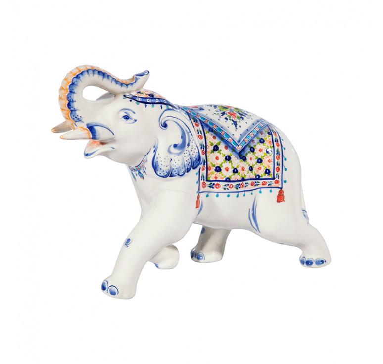 Скульптура Слон №1 (подглазурные цветные краски, кобальт)