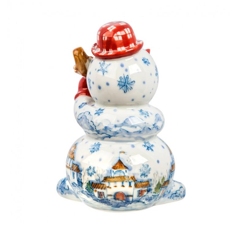 Скульптура Снеговик с контрабасом (подглазурные цветные краски) авт. р.