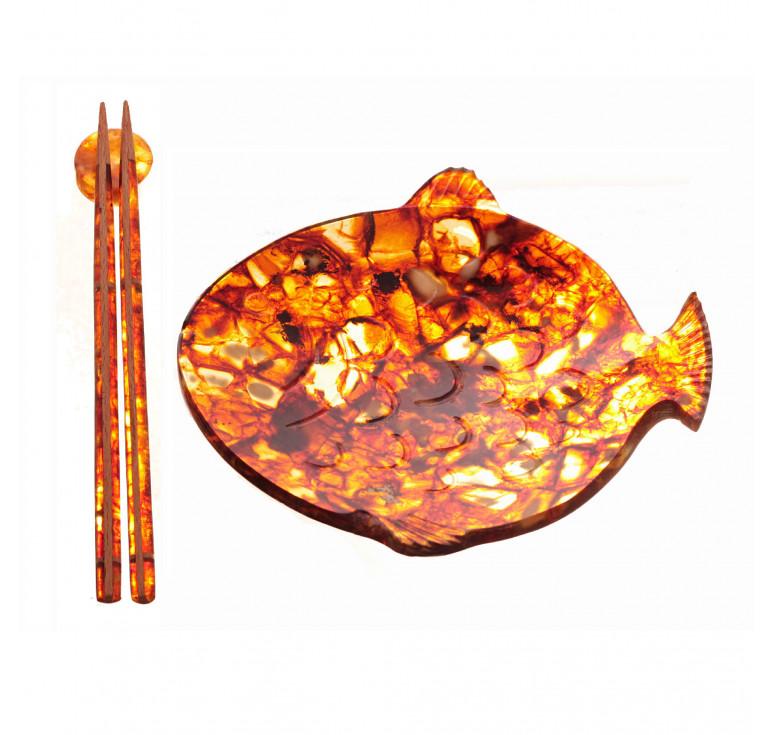 Янтарная тарелка «Рыбка» с палочками для еды из янтаря